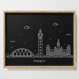 Glasgow Minimal Nightscape / Skyline Drawing Serving Tray