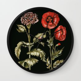 Carnation & Poppy on Charcoal Wall Clock