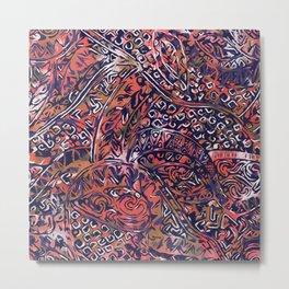 Blue Hawaiian Red Ancient Pattern Metal Print