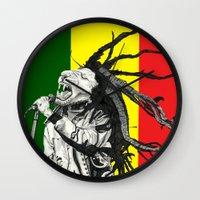 marley Wall Clocks featuring Rastalion Marley by Paula Savage