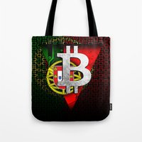 portugal Tote Bags featuring bitcoin Portugal by seb mcnulty