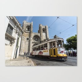 Tram outside Lisbon Cathedral Canvas Print