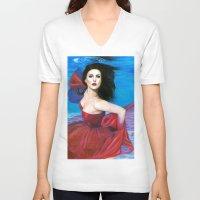 aqua V-neck T-shirts featuring Aqua by Jane Stradwick