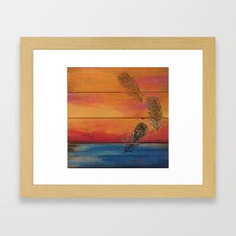 Rising Sun. My Orginal Abstract Painting by Jodilynpaintings. Abstract Sunset With Feathers. Beach Framed Art Print