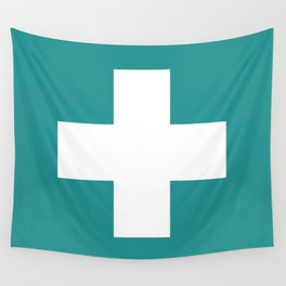Swiss Cross Turquoise Wall Tapestry