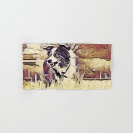 Collie In Weathered Hand & Bath Towel