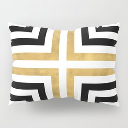 Simple Geometric Cross Pattern - White Gold on Black - Mix & Match with Simplicity of life Pillow Sham