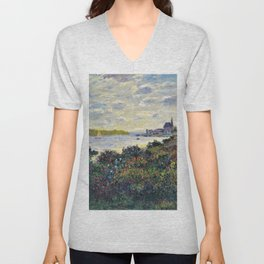 Red Poppies on the banks of the Seine at Argenteuil by Claude Monet Unisex V-Neck