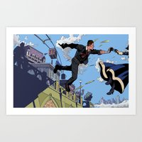 bioshock infinite Art Prints featuring Bioshock Infinite - Catch, Booker by JD Faith