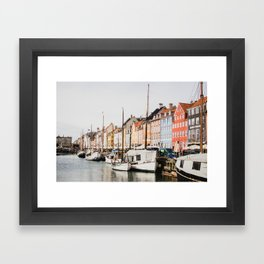 The Row | City Photography of Boats and Colorful Houses in Nyhavn Copenhagen Denmark Europe Framed Art Print