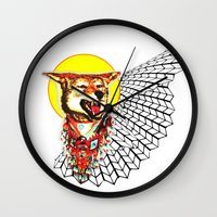 coyote Wall Clocks featuring Coyote by Renaissance Youth