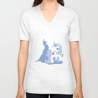 the last unicorn V-neck T-shirts featuring My Little Last Unicorn by Ashley Hay