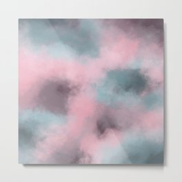 Pink, Grey / Gray & Aqua Cloudscape Metal Print
