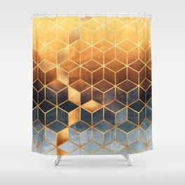 Golden Gradient Cubes Shower Curtain