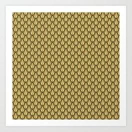 Gleaming Gold Leaf Scalloped Scale Pattern Art Print