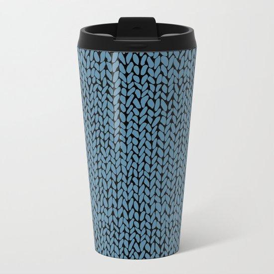 Hand Knit Niagra Blue Metal Travel Mug