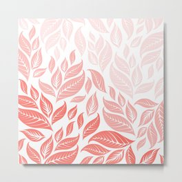 LIVING CORAL LEAVES 3 Metal Print