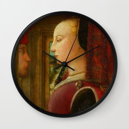 "Fra Filippo Lippi ""Portrait of a Woman with a Man at a Casement"" Wall Clock"
