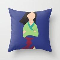 mulan Throw Pillows featuring Mulan by Adrian Mentus