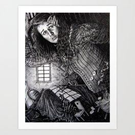 Alice in the Rabbit's House Art Print