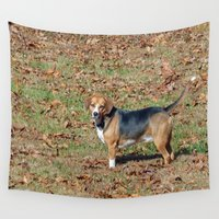 beagle Wall Tapestries featuring Beagle by Frankie Cat