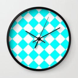 Large Diamonds - White and Aqua Cyan Wall Clock
