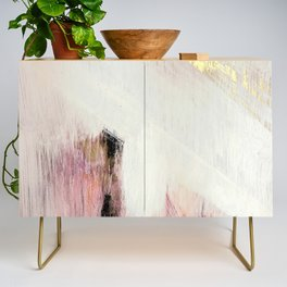 Sunrise [2]: a bright, colorful abstract piece in pink, gold, black,and white Credenza