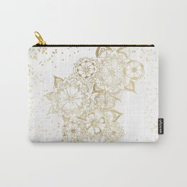 Hand drawn white and gold mandala confetti motif Carry-All Pouch