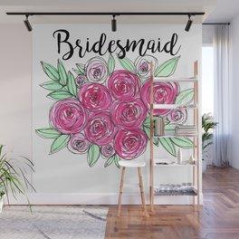 Bridesmaid Wedding Pink Roses Watercolor Wall Mural
