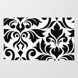 Flourish Damask Art I Black on White Rug