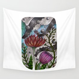 octopus and flowers Wall Tapestry