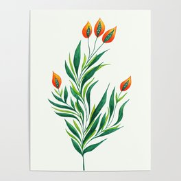 Abstract Green Plant With Orange Buds Poster