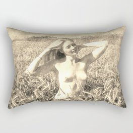 Vintage Beauty of Nature  - erotic photography rework, sexy topless girl at field, kinky nude posing Rectangular Pillow