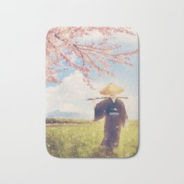 The warrior under the sakura tree Bath Mat