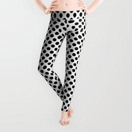 Polka Dots, Spots (Dotted Pattern) - White Black Leggings