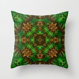 Emerald Path Mandala Throw Pillow