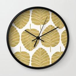 Elephant Ear Alocasia – Gold Palette Wall Clock