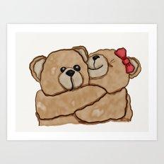 Teddy Bear Hugs Art Print