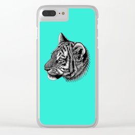 Amur tiger cub - big cat - ink illustration - turquoise Clear iPhone Case