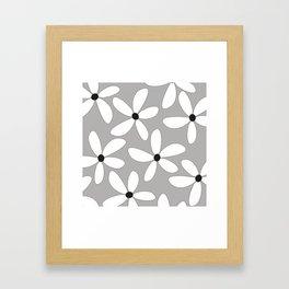 Happy flowers Gray Framed Art Print