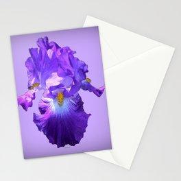 Decorative Lilac Bearded Iris Flower Stationery Cards