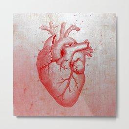 Red Hard Heart Metal Print