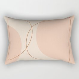 Hand Drawn Geometric Lines in Earthy Shades Rectangular Pillow