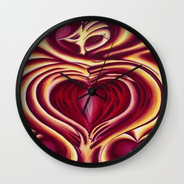 4 of hearts Wall Clock
