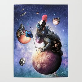 Funny Space Lizard Poster