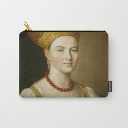 Ivan Argunov - Portrait of an Unknown Woman in Russian Costume Carry-All Pouch
