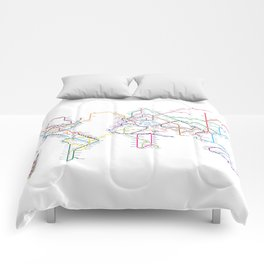 World Metro Subway Map Comforters