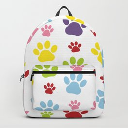 Colorful Paws, Dog Traces, Trails, Animal Paws Backpack