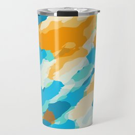 blue orange and brown dirty painting abstract background Travel Mug