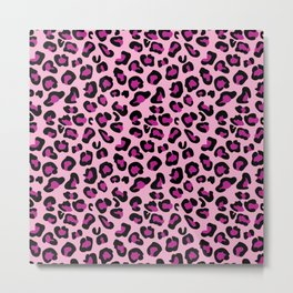 Leopard-Pink+Black+Purple Metal Print